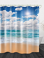 cheap -Beautiful Sunny Beach Print Waterproof Fabric Shower Curtain for Bathroom Home Decor Covered Bathtub Curtains Liner Includes with Hooks