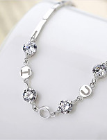 cheap -Women's Charm Bracelet Bracelet Cut Out Heart Letter Fashion Copper Bracelet Jewelry Silver For Christmas Party Wedding Daily Work / Silver Plated