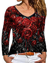 cheap -Women's Floral Theme 3D Printed Painting T shirt Floral 3D Long Sleeve Print Round Neck Basic Tops Blue Purple Fuchsia