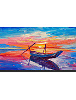 cheap -Oil Painting Handmade Hand Painted Wall Art Rectangle Seascape Sunrise Sails Abstract Pictures Home Decoration Decor Stretched Frame Ready to Hang