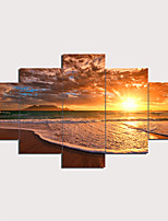 cheap -5 Panels Wall Art Canvas Prints Painting Artwork Picture Sunset Ocean Beach Landscape Home Decoration Décor Rolled Canvas No Frame Unframed Unstretched