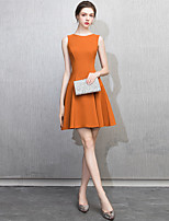 cheap -A-Line Minimalist Elegant Homecoming Cocktail Party Dress Jewel Neck Sleeveless Short / Mini Stretch Fabric with Sleek Pleats 2021