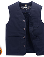cheap -Men's Fishing Vest Hiking Fleece Vest Sleeveless Winter Jacket Coat Top Outdoor Thermal Warm Windproof Fleece Lining Quick Dry Autumn / Fall Winter Fleece Navy khaki Black Hunting Fishing Climbing