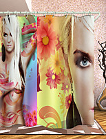 cheap -Woman Series Digital Printing Shower Curtain Shower Curtains Hooks Modern Polyester New Design