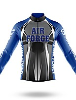 cheap -21Grams Men's Long Sleeve Cycling Jersey Spandex Polyester Silver+Blue 3D Geometic Funny Bike Top Mountain Bike MTB Road Bike Cycling Quick Dry Moisture Wicking Breathable Sports Clothing Apparel