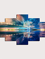 cheap -5 Panels Wall Art Canvas Prints Painting Artwork Picture Bridge Sea Landscape Home Decoration Décor Rolled Canvas No Frame Unframed Unstretched