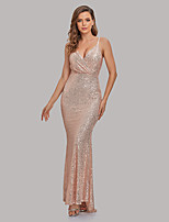 cheap -Mermaid / Trumpet Sparkle Sexy Party Wear Formal Evening Dress V Neck Spaghetti Strap Sleeveless Floor Length Sequined with Ruched Sequin 2021