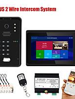 cheap -7 inch  Wifi Wireless Fingerprint IC Card  Video Door Phone Doorbell Intercom System with Wired AHD 1080P  Door Access Control