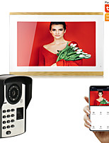 cheap -10 inch Wired/WIFI Tuya Smart APP 1080P Camera Touch Screen Video Doorbell Intercom Door Phone Record/Motion Detector System Remote View Unlock Electric Lock