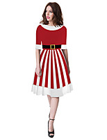cheap -Santa Suit Flapper Dress Dress Adults' Women's Cute Christmas New Year Christmas New Year Festival / Holiday Terylene Red Women's Easy Carnival Costumes Stripes