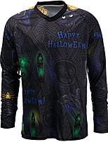 cheap -21Grams Men's Long Sleeve Cycling Jersey Spandex Polyester Black Skull Funny Bike Top Mountain Bike MTB Road Bike Cycling Quick Dry Moisture Wicking Breathable Sports Clothing Apparel / Stretchy