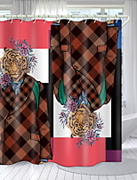 cheap -Tiger Geometry Series Digital Printing Shower Curtain Shower Curtains  Hooks Modern Polyester New Design