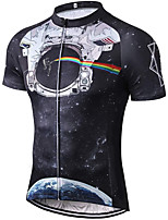 cheap -21Grams Men's Short Sleeve Cycling Jersey Summer Spandex Polyester Black Galaxy Funny Astronaut Bike Top Mountain Bike MTB Road Bike Cycling Quick Dry Moisture Wicking Breathable Sports Clothing