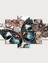 cheap -5 Panels Wall Art Canvas Prints Painting Artwork Picture Floral Butterfly Home Decoration Décor Rolled Canvas No Frame Unframed Unstretched