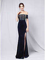 cheap -Mermaid / Trumpet Empire Sexy Wedding Guest Formal Evening Dress Strapless Off Shoulder Short Sleeve Floor Length Velvet with Crystals Split 2021