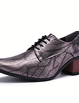 cheap -Men's Oxfords Formal Shoes Dress Shoes British Style Plaid Shoes Casual Classic British Daily Party & Evening PU Non-slipping Height-increasing Red Blue Gray Fall Winter