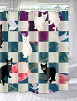 cheap -Pet Geometry Series Digital Printing Shower Curtain Shower Curtains  Hooks Modern Polyester New Design