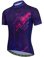 cheap -21Grams Men's Short Sleeve Cycling Jersey Summer Spandex Blue Graffiti Bike Top Mountain Bike MTB Road Bike Cycling Quick Dry Moisture Wicking Sports Clothing Apparel / Stretchy / Athleisure