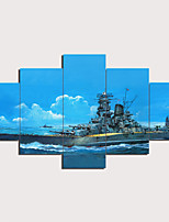 cheap -5 Panels Wall Art Canvas Prints Painting Artwork Picture Warship Seascape Home Decoration Décor Rolled Canvas No Frame Unframed Unstretched
