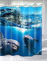 cheap -Blue Dolphin Series Digital Printing Shower Curtain Shower Curtains  Hooks Modern Polyester New Design