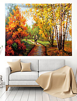 cheap -Oil Painting Style Wall Tapestry Art Decor Blanket Curtain Hanging Home Bedroom Living Room Decoration Polyester Forest Landscape