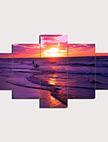 cheap -5 Panels Wall Art Canvas Prints Painting Artwork Picture Purple Sunset Beach Landscape Home Decoration Décor Rolled Canvas No Frame Unframed Unstretched