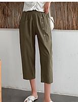 cheap -Women's Basic Casual / Sporty Comfort Chinos Daily Weekend Pants Plain Calf-Length Pocket Elastic Waist Army Green Orange Navy Blue Coffee