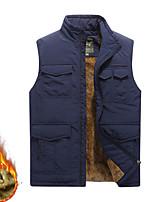 cheap -Men's Fishing Vest Hiking Fleece Vest Sleeveless Winter Jacket Coat Top Outdoor Thermal Warm Windproof Fleece Lining Quick Dry Autumn / Fall Winter Fleece khaki Army Green Dark Blue Hunting Fishing