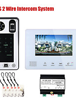 cheap -7 Inch BUS 2 Wire Fingerprint Video Door Phone Intercom systems for home 1-doorbell camera 1-monitor Night Vision