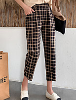 cheap -Women's Basic Casual / Sporty Comfort Chinos Daily Weekend Pants Plaid Checkered Stripe Geometry Calf-Length Pocket Elastic Waist Blue Yellow Light Brown Black Brown
