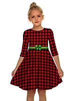 cheap -Santa Suit Audrey Hepburn Dress Swing Dress Kid's Women's Cute Christmas New Year Christmas New Year Festival / Holiday Terylene Red+Black / Blue / Green Women's Easy Carnival Costumes Plaid Snowflake
