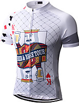 cheap -21Grams Men's Short Sleeve Cycling Jersey Summer Spandex Polyester White Funny Poker Bike Top Mountain Bike MTB Road Bike Cycling Quick Dry Moisture Wicking Breathable Sports Clothing Apparel
