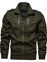 cheap -Men's Bomber Jacket Hiking Windbreaker Military Tactical Jacket Outdoor Thermal Warm Windproof Quick Dry Lightweight Outerwear Coat Top Hunting Fishing Climbing khaki Black Army Green / Long Sleeve