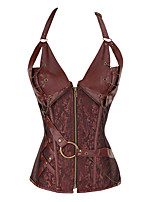 cheap -Women's Halloween Corset Plain Drawstring Zipper Strapless Vintage Sexy Punk & Gothic Tops Black Brown