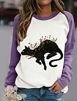 cheap -Women's Sweatshirt Pullover Floral Cat Color Block Patchwork Print Crew Neck Daily Sports Active Streetwear Hoodies Sweatshirts  Purple White Black