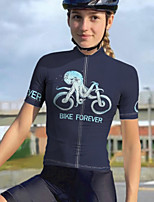 cheap -21Grams Women's Short Sleeve Cycling Jersey Summer Spandex Polyester Dark Navy Bike Jersey Top Mountain Bike MTB Road Bike Cycling Quick Dry Moisture Wicking Breathable Sports Clothing Apparel