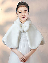 cheap -Sleeveless Elegant Faux Fur Wedding Party Kids' Wraps With Solid