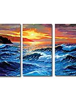 cheap -3 Panels Wall Art Canvas Prints Painting Artwork Picture Blue Wave Sun Seascape Landscape Home Decoration Décor Rolled Canvas No Frame Unframed Unstretched