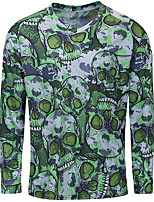 cheap -21Grams Men's Long Sleeve Cycling Jersey Spandex Polyester Green Skull Funny Bike Top Mountain Bike MTB Road Bike Cycling Quick Dry Moisture Wicking Breathable Sports Clothing Apparel / Stretchy