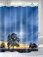 cheap -Day and Night Nature Series Digital Printing Shower Curtain Shower Curtains  Hooks Modern Polyester New Design