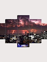 cheap -5 Panels Wall Art Canvas Prints Painting Night Lightning Urban Landscape Skyline Home Decoration Décor Rolled Canvas No Frame Unframed Unstretched