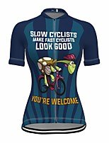 cheap -21Grams Women's Short Sleeve Cycling Jersey Summer Spandex Dark Blue Cartoon Bike Top Mountain Bike MTB Road Bike Cycling Quick Dry Moisture Wicking Sports Clothing Apparel / Stretchy / Athleisure