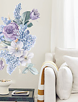 cheap -Purple Romantic Flower Wall Stickers Living Room Removable PVC Home Decoration Wall Decal 1pc