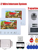 cheap -2 Units Apartment BUS 2 Wire Video Door Phone Intercom systems 7 Inch Kit for Electronic Door Lock home  Night Vision