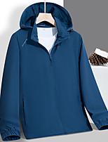 cheap -Men's Hoodie Jacket Hiking Jacket Hiking Windbreaker Nylon Elastane Outdoor Solid Color Thermal Warm Waterproof Windproof Quick Dry Outerwear Trench Coat Top Skiing Ski / Snowboard Fishing Blue Dark
