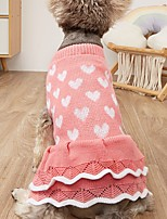 cheap -Dog Cat Sweater Tuxedo Dog clothes Heart Cute Sweet Dailywear Valentine's Day Winter Dog Clothes Puppy Clothes Dog Outfits Warm Pink Red Heart Costume for Girl and Boy Dog Knitted XS S M L XL XXL