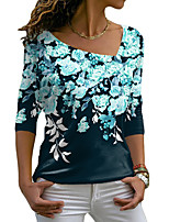 cheap -Women's Floral Theme Painting T shirt Floral Graphic Long Sleeve Print V Neck Basic Tops Blue Purple Green