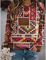 cheap -Women's Sweatshirt Pullover Geometric Graphic Prints Print Daily Sports 3D Print Active Ethnic Hoodies Sweatshirts  Brown