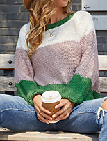 cheap -Women's Sweater Knitted Color Block Stylish Long Sleeve Sweater Cardigans Crew Neck Fall Yellow Green Black