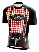 cheap -21Grams Men's Short Sleeve Cycling Jersey Summer Spandex Polyester Red Plaid Checkered 3D Funny Bike Top Mountain Bike MTB Road Bike Cycling Quick Dry Moisture Wicking Breathable Sports Clothing